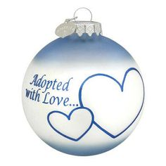 Adopted With Love adoption ornament in blue (boy)