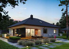 Projekt domu Astrid II G2 (mała) energo 99,44 m² - koszt budowy - EXTRADOM Modern Bungalow, Bungalow House Design, Bungalow House Plans, Modern Small House Design, Modern House Floor Plans, House Plans 3 Bedroom, Compact House, House Blueprints, Simple House