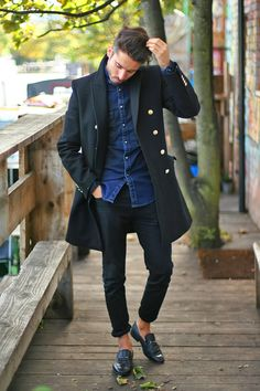 relax // #peacoat #loafers #menswear