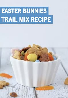 Celebrate the springtime with this Easter Trail Mix. This after-school snack comes together in just 5 minutes and is full of kid-friendly favorites, like bunny-shaped crackers, nuts, chocolate pieces, and dried fruit. Make a big batch ahead of time so you can have it ready for your party!