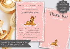 Pink Bambi Baby Shower Invitation | Blue Bambi Baby Shower | Printable Invitation | Bambi | Free Thank You Card (103) by kellylouisedesigns on Etsy