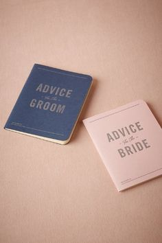 advice for the bride // groom - great to take along for bachelor/bachelorette parties and have your attendants fill out