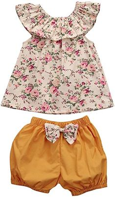 Amazon.com: GSHOOTS Baby Girls' 2PCS Clothes Little Flower Ruffle Collar Top + Bowknot Shorts Outfit Set (100 / 12-24 Months, Ginger Garden): Home & Kitchen