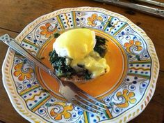 New at this so its upside down but this is  Eggs Sardou for my Mom the first breakfast she had after returning home from the assisted living. Its what she asked for and John obliged. It was delicious.
