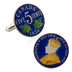 Hand Painted Canada Coin Cufflinks, Penny Black Forty | Cufflinskman