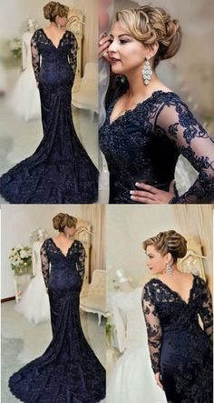 dark navy court train mother of the bride dresses with appliques Blue Wedding Dresses, Formal Dresses For Weddings, Wedding Attire, Bridesmaid Dresses, Mother Of The Bride Dresses Long, Mother Of Bride Outfits, Mothers Dresses, After 5 Dresses, Mob Dresses