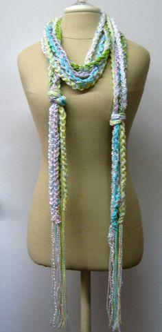 Pastel purls braids Gypsy Fringe Scarf skinny by PurpleSageDesignz, $19.00
