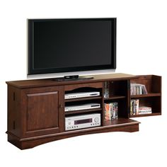 "60"" Wood Game TV Media Stand Console, Traditional Brown. Dimensions: 60"" W x 16"" D x 24"" H. Weight: 99 lbs. Traditional brown finish. High-grade MDF and laminate construction. Solid and sturdy. Stylish, contemporary design. Accommodates most flat-panel TVs up to 65 in. Ample storage space for A/V components. Holds approximately 215 DVDs/Blu-ray discs. Adjustable center shelving for convenience. Ships ready-to-assemble with necessary hardware and tools. Assembly instructions included with..."