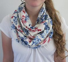 Red White and Blue Floral Scarf Fringed by TheCountryBluebird