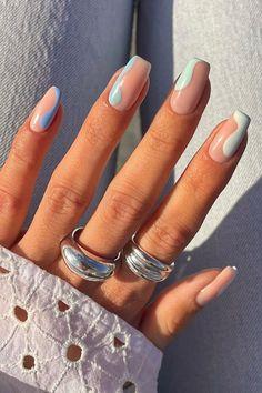 Acrylic Nails Coffin Short, Simple Acrylic Nails, Summer Acrylic Nails, Best Acrylic Nails, Pastel Nails, Simple Nails, Spring Nails, Summer Nails, Nail Ideas For Summer