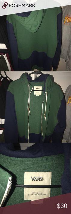 Vans Hoodie Zipped Blue & Green Never used Vans Sweaters