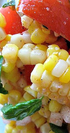 Fresh Corn and Tomato Salad is a perfect side with our Family Favorite Enchiladas or any type of barbecue dish. Quick and fresh. Corn Tomato Salad, Fresh Corn Salad, Corn Salads, Salad Bar, Soup And Salad, Fresh Corn Recipes, Quinoa Benefits, Salad Dressing Recipes, Salad Dressings