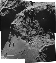 Looking up at the underbelly of the duck-shaped comet's larger lobe. The largest boulder at lower left is named Cheops, after the Egypian pyramid, and is about 150 feet across. Earth And Space, Rosetta Spacecraft, Nasa, Space Probe, One Step Beyond, Body Cast, Mountain Photography, Space Photos, Astronomy