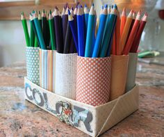 DIY Colored Pencil Organizer using toilet paper tubes