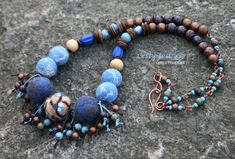 READY Felted Beads Necklace Wool Beads Wood Beads by Leslyfelt