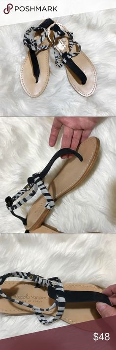 [Niccolo Vacari] Suede Striped Sandals Black and white striped sandals by Niccolo Vacari.  Made in Italy. Suede leather upper.  Gold tone hardware. Size 7.  These are in great condition.  There is a light mark on the strap where it goes through the clasp, light scuffing on one toe.  These are nearly new as I wore them only a couple of times.  Unfortunately I no longer have the box to include. Niccolo Vacari Shoes Sandals