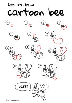 How to draw cartoon Bee. Easy drawing, step by step, perfect for kids! Let's draw kids. http://letsdrawkids.com/