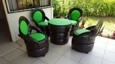Llantas recicladas Tire Furniture, Garage Furniture, Recycled Furniture, Recycled Art, Tire Craft, Tire Garden, Bar Shed, Tire Chairs, Quirky Decor