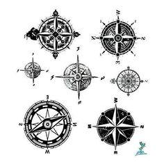 Yeeech-Temporary-Tattoo-Paper-Compass-Black-for-Men-Women-New
