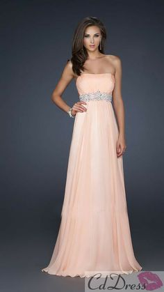 A-Line Strapless Floor-Length Chiffon Long Prom Dress