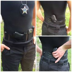 Here you see an off-duty police officer with his issued sidearm, a Glock 21. Remarkable for its accuracy and light recoil, this double-action-only pistol holds 13-rounds of .45 ACP ammunition and features fixed 3-dot sights