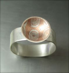 Items similar to Mokume Gane Ring, Sterling Silver Band, Puddle Ring on Etsy Jewelry Art, Silver Jewelry, Jewelry Design, Handmade Rings, Handmade Jewelry, Mixed Metal Jewelry, Polymer Clay Pendant, Love Ring, Beautiful Rings