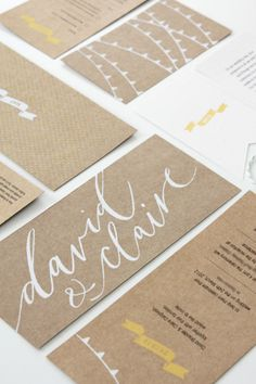 like the big, bold cursive writing across the back. It really stands out with the neutral background.I like the big, bold cursive writing across the back. It really stands out with the neutral background. Wedding Invitation Design, Wedding Stationary, Corporate Stationary, Invitation Suite, Design Web, Design Editorial, Typographie Logo, Name Cards, Wedding Ideas