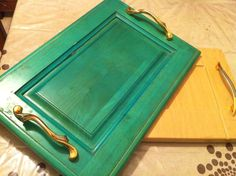 upcycled cabinet door tray
