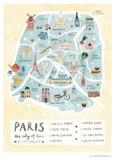Illustrated map of Paris by Livi Gosling (via Etsy).