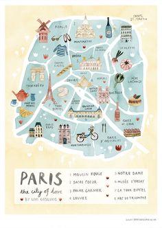 Illustrated map of Paris by Livi Gosling (via Etsy).
