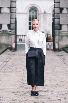 Effortless culottes & a plain white shirt brings monochrome... - Topshop Tumblr