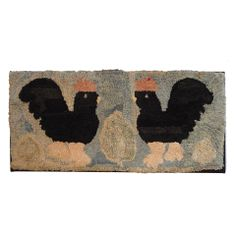 Folky Hand Hooked Chickens Rug on Mount