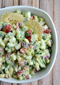 Ingredients: 1 large cucumber, peeled, seeded and finely chopped 1 avocado, finely chopped 1 medium tomato , finely chopped and seeded ¼ cup red onion, finely chopped 2 – 3 tablespoon fresh cilantro, finely chopped 1 garlic clove, minced for the sauce: ¼ c reduced-fat