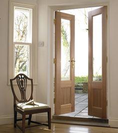 Glazed hardwood French doors