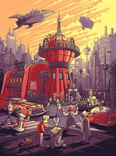 Futurama inspired artwork by Dan Mumford. Dan Mumford, World Of Tomorrow, Family Guy, American Dad, Adult Cartoons, Adventure Time Anime, Classic Cartoons, Cultura Pop, The Simpsons