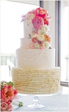 Buttercream, Fresh Florals and White Chocolate Ruffle Wedding Cake by The Pastry Studio