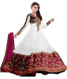 Buy Anjali Creation White Embriudered Georgette Semi Stitched Anarkali Suit Online India - 2774395