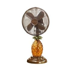 Deco Breeze DBF0673 Table Fan, Glass Pineapple, 10-Inch ($140) ❤ liked on Polyvore featuring home, home decor, pineapple home decor, deco breeze and glass home decor