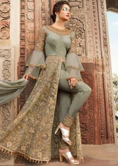 Indian dresses on sale: buy indian outfits & indian clothes online Indian Gowns Dresses, Indian Fashion Dresses, Dress Indian Style, Indian Designer Outfits, Pakistani Dresses, Indian Outfits, Bridal Anarkali Suits, Eid Dresses, Pakistani Suits
