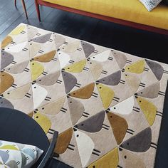 Lintu by Scion - Dandelion - 90 x 150 cm - Rug : Wallpaper Direct Trendy Colors, Bold Colors, Fox Pattern, Hand Tufted Rugs, Bird Design, Scion, Mid Century Style, Modern Rugs, Rug Making