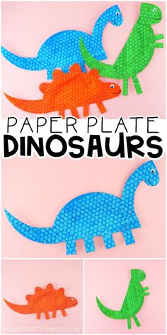 Paper Plate Dinosaur Craft for Kids -Three Easy Templates for Dinosaurs. Fun paper plate dinosaur craft for toddlers and preschoolers. Three free and easy templates for simple dinosaur crafts for kids. Simple dinosaurs kids will love to create! Dinosaur Books For Kids, Dinosaur Crafts Kids, Dinosaurs Preschool, Dinosaur Activities, Preschool Crafts, Spanish Activities, Classroom Activities, Kids Crafts, Paper Plate Crafts For Kids