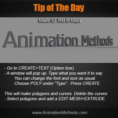 Create text in Maya 3d Text, Modeling Tips, 3d Animation, Maya, Sayings, Learning, Create, Tutorials, Lyrics