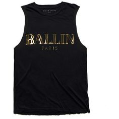ALEX AND CHLOE Ballin In Paris - Muscle Tee - Black W/Gold Foil ($44) ❤ liked on Polyvore featuring mens, men's clothing, men's shirts, men's t-shirts, tops, shirts, tanks и tees