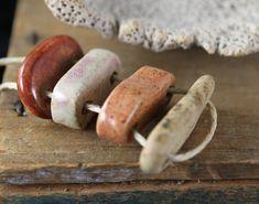 Handmade stoneware ceramic beads Connectors (4) - $14.25