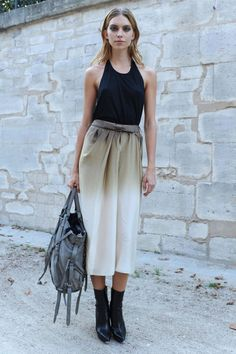 Ombre maxi skirt, black vest and chelsea boots
