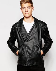 French Connection Leather Look Biker Jacket