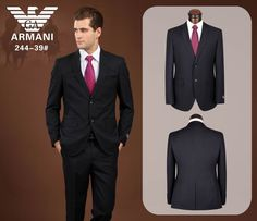 Armani Vertical Strip Suit Black 20