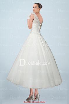 19faf5799 Romantic Illusion Bateau Neckline Ankle-length Wedding Gown in Applique  Details, Quality Unique Wedding Dresses