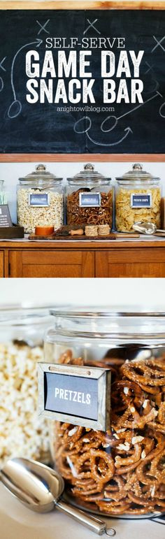 This Self-Serve Game Day Snack Bar is so easy to set up and your guests can get their fill of snacks during the big game!