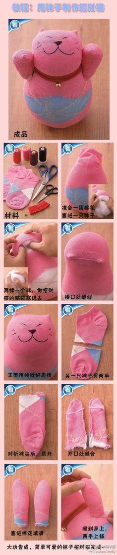 Sock Kitty - no instructions just pics to follow